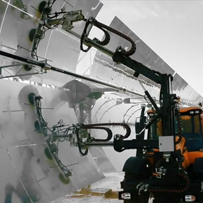 How does our patented technology Valcos used for cleaning solar mirrors work?